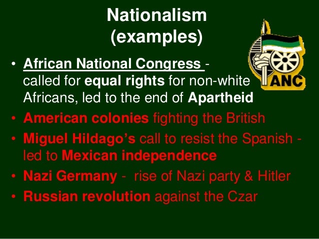Examples of nationalism.