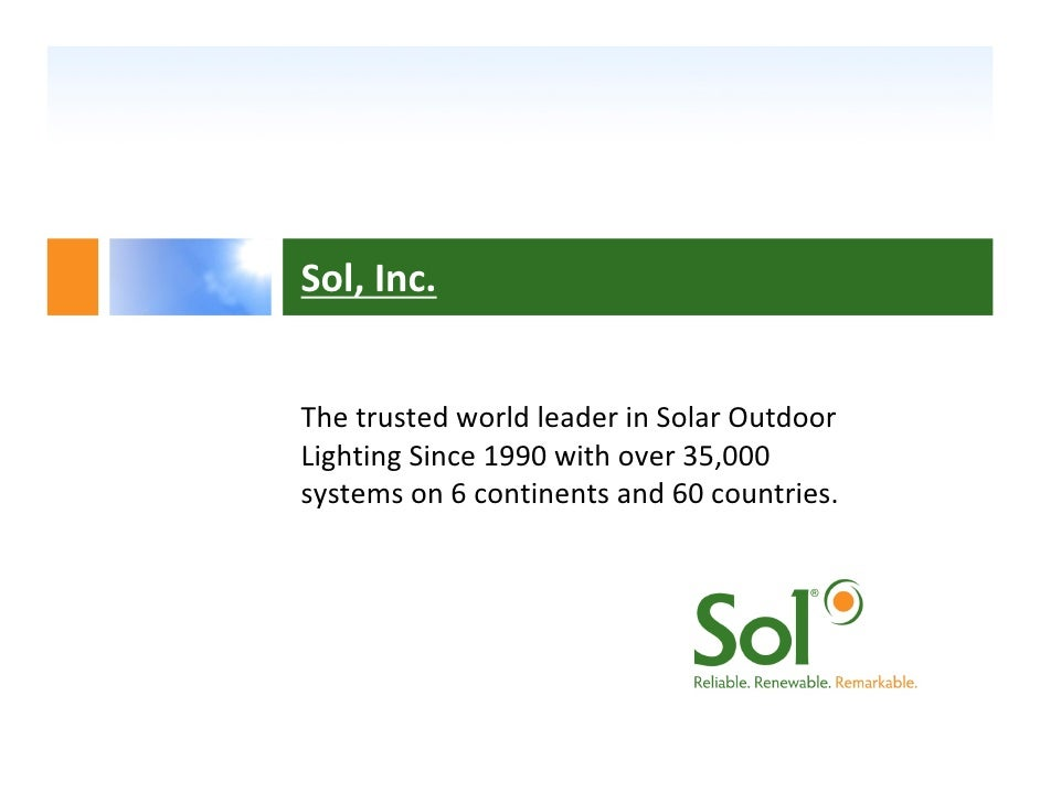 Solar led lighting introduction sol inc the trusted world leader in solar outdoor lighting since 1990 with over aloadofball Gallery