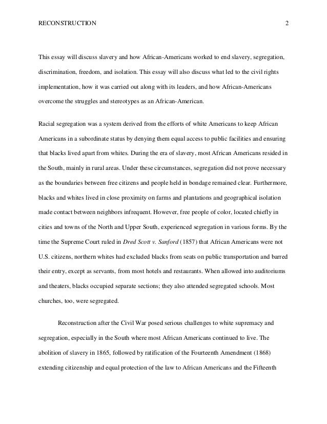 slavery and reconstruction essay Aftermaths of slavery the reconstruction-era debates over transitioning from slavery to freedom had parallels in other western hemisphere countries.