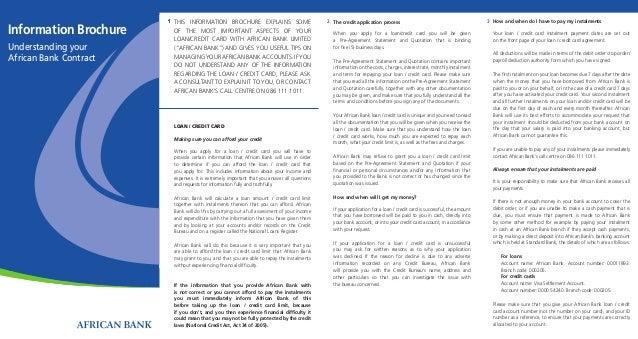 Visa Credit Card Login >> African Bank Information Brochure