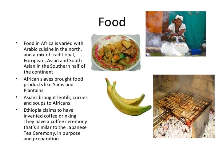 African culture for American cuisine presentation