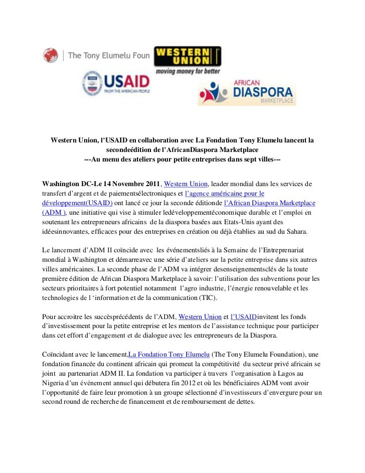Western Union, l'USAID en collaboration avec La Fondation Tony Elumelu lancent la                    secondeédition de l'A...