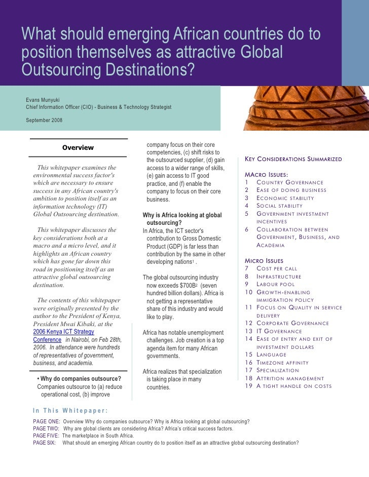 What should emerging African countries do to position themselves as attractive Global Outsourcing Destinations? Evans Muny...