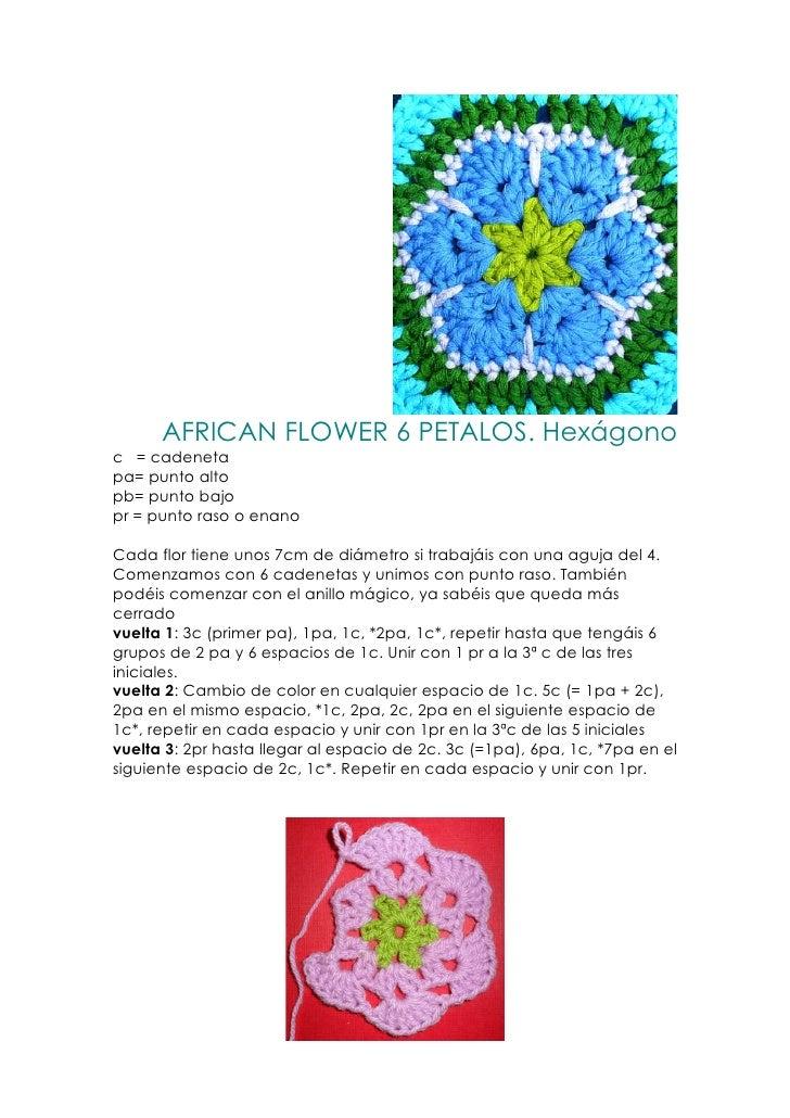 AFRICAN FLOWER 6 PETALOS. Hexágonoc = cadenetapa= punto altopb= punto bajopr = punto raso o enanoCada flor tiene unos 7cm ...