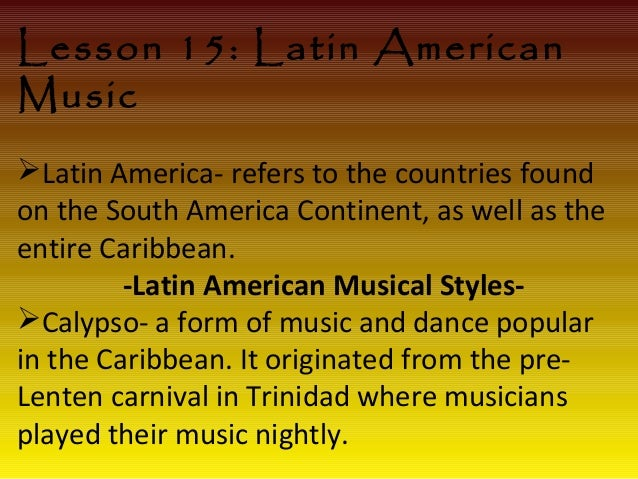 african latin american music Latin music is a form of popular music played by from latin america especially north america in discussing latin music these themes are extremely important: place: the country and sometimes the region of origin peru had few african slaves.