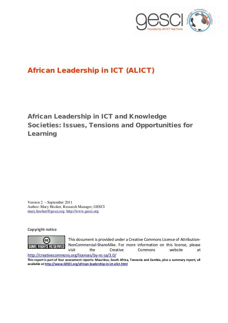African Leadership in ICT (ALICT)African Leadership in ICT and KnowledgeSocieties: Issues, Tensions and Opportunities forL...