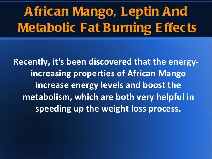 African Mango Extract Metabolism And Leptin