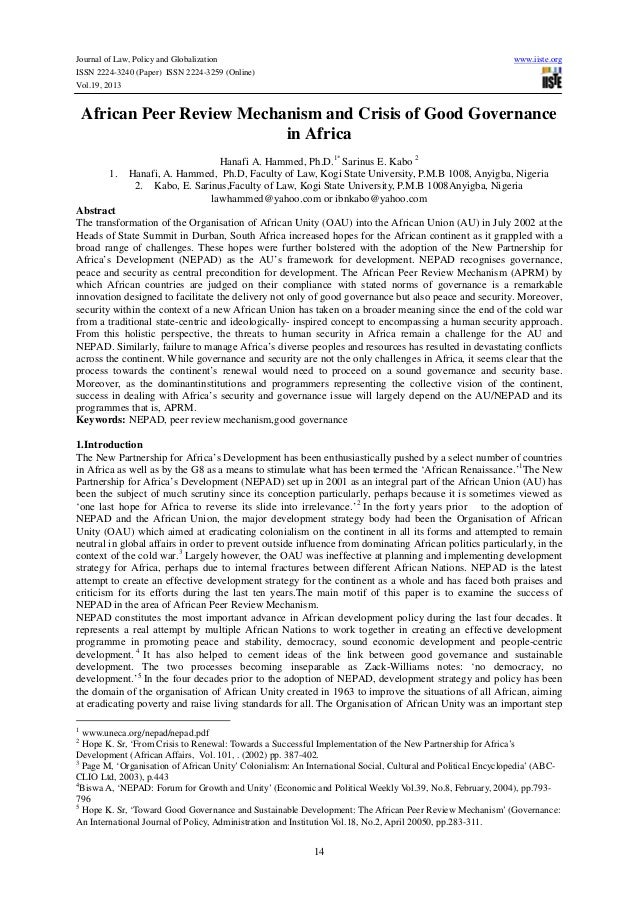 Journal of Law, Policy and Globalization ISSN 2224-3240 (Paper) ISSN 2224-3259 (Online) Vol.19, 2013  www.iiste.org  Afric...