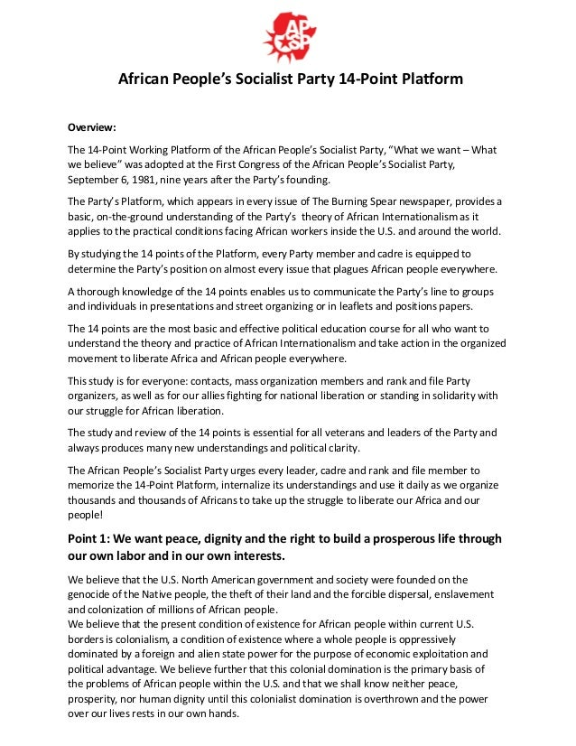 African People's Socialist Party 14-Point Platform Overview: The 14-Point Working Platform of the African People's Sociali...