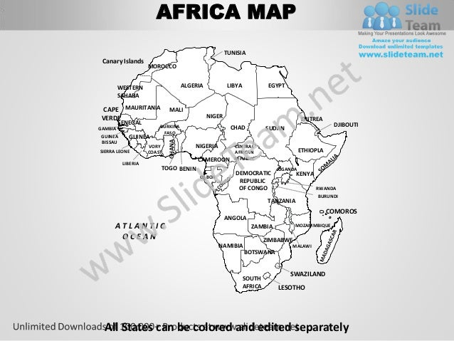 Africa powerpoint editable continent map with countries ...