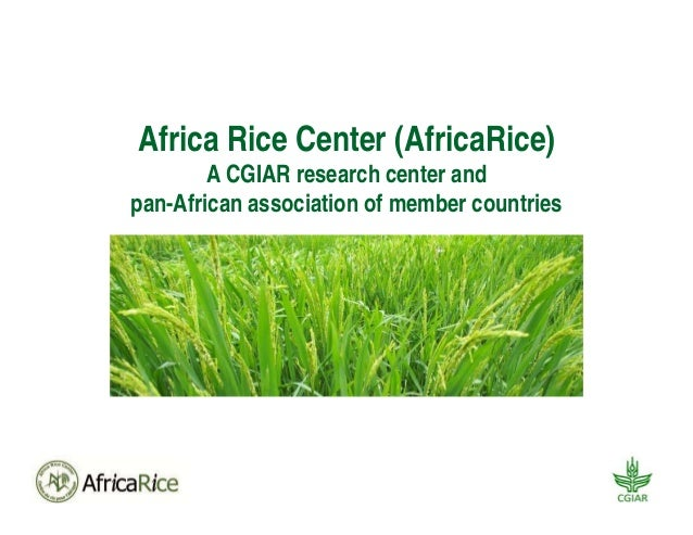 Africa Rice Center (AfricaRice) A CGIAR research center and pan-African association of member countries