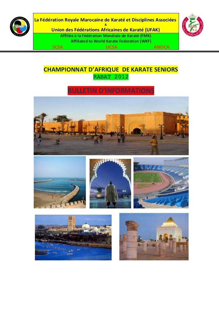 La Fédération Royale Marocaine de Karaté et Disciplines Associées                                   &       Union des Fédé...