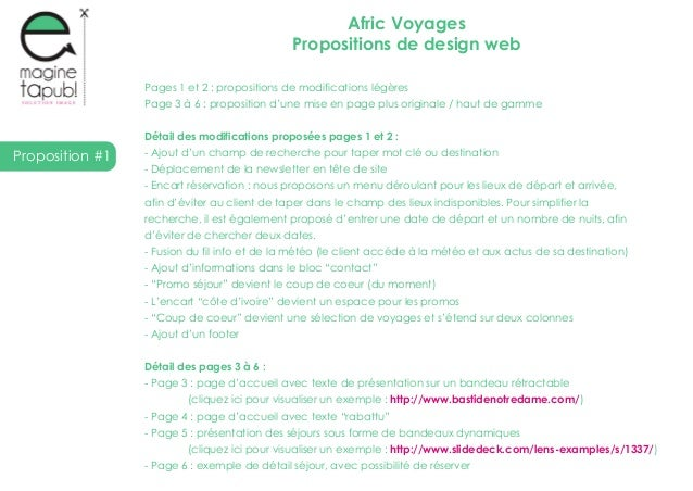 Proposition #1Afric VoyagesPropositions de design webPages 1 et 2 : propositions de modifications légèresPage 3 à 6 : prop...