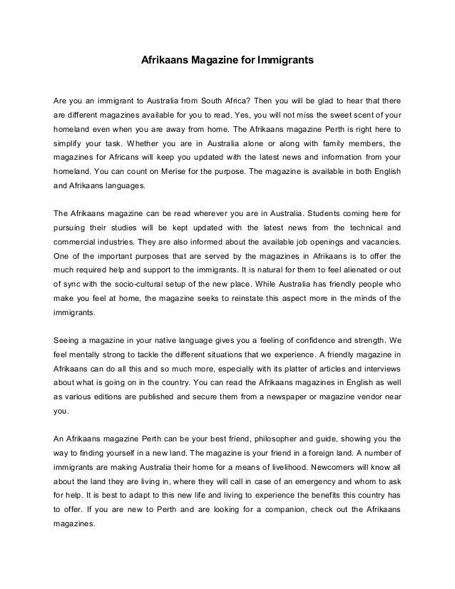 Essay On Business Management Afrikaans Magazine For Immigrantsare You An Immigrant To Australia From  South Africa An Essay On English Language also Purpose Of Thesis Statement In An Essay Afrikaans Magazine For Immigrants Apa Style Essay Paper