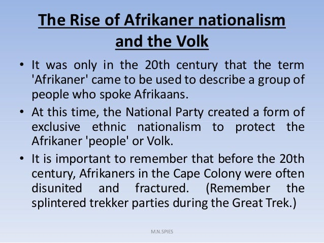 Rise of afrikaner nationalism essay