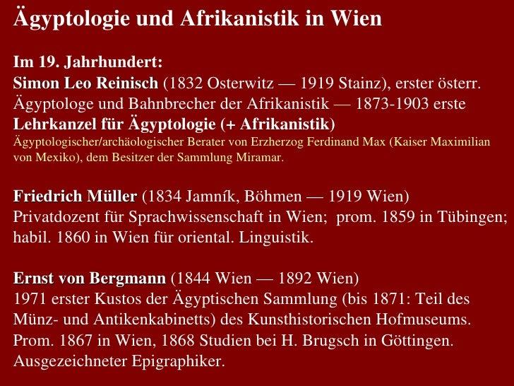 Ägyptologie und Afrikanistik in Wien Im 19. Jahrhundert: Simon Leo Reinisch  (1832 Osterwitz — 1919 Stainz), erster österr...