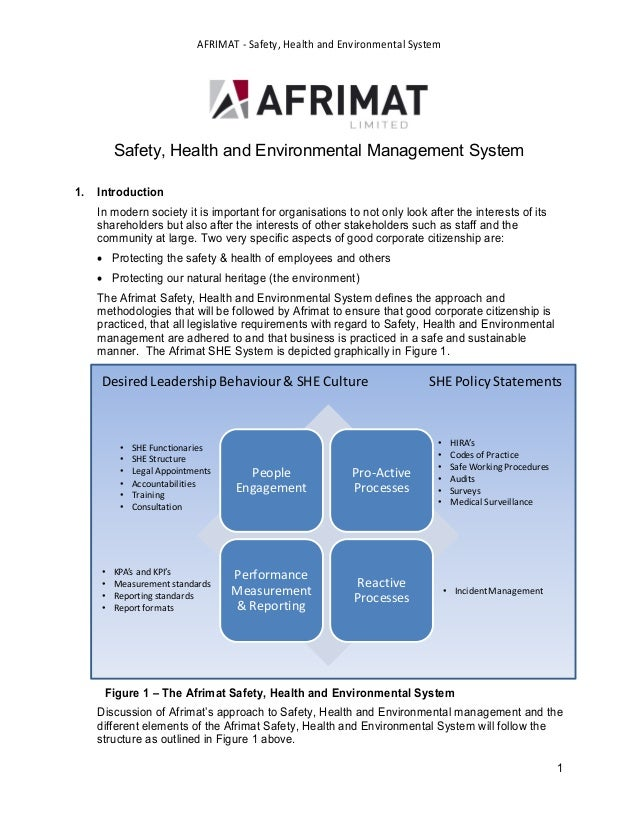 AFRIMAT - Safety, Health and Environmental System         Safety, Health and Environmental Management System1.   Introduct...