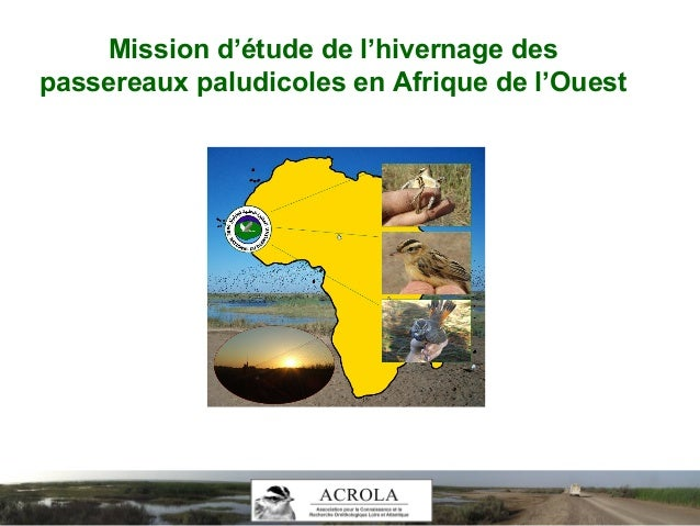 Mission d'étude de l'hivernage des passereaux paludicoles en Afrique de l'Ouest