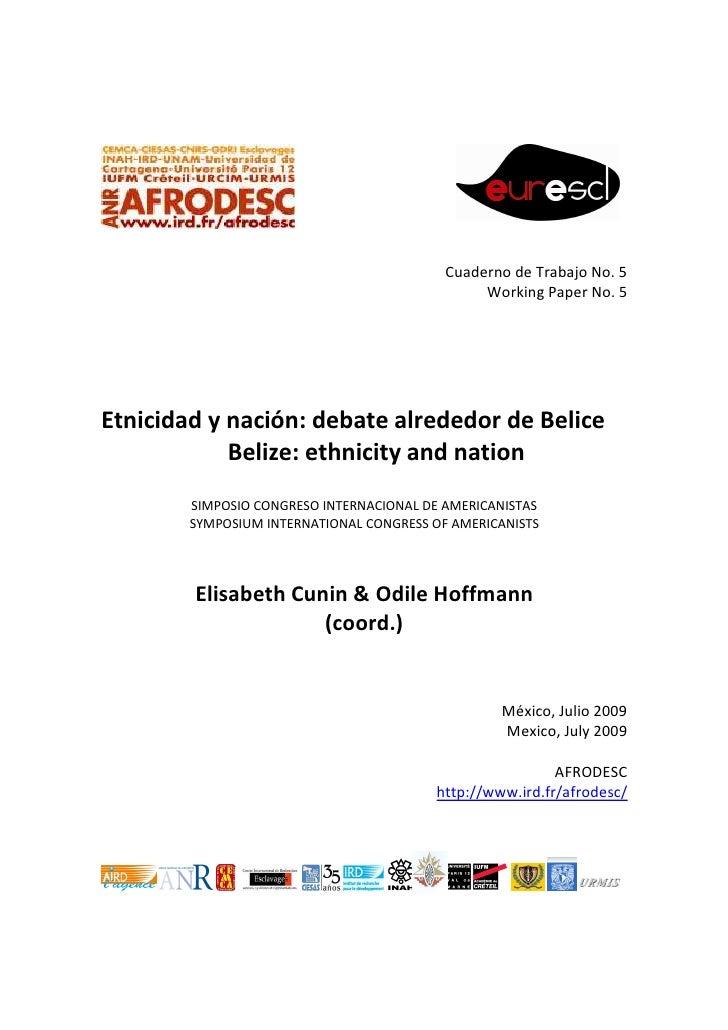 Cuaderno de Trabajo No. 5                                                Working Paper No. 5Etnicidad y nación: debate alr...