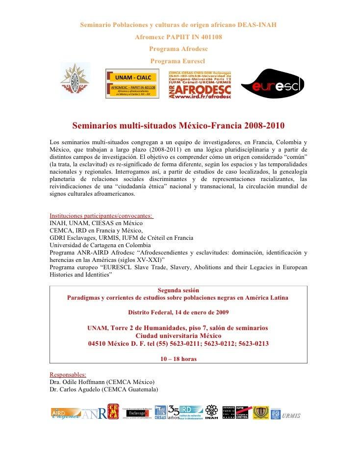 Seminario Poblaciones y culturas de origen africano DEAS-INAH                                  Afromexc PAPIIT IN 401108  ...
