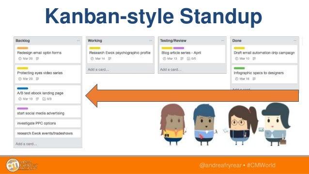 @andreafryrear • #CMWorld Kanban-style Standup