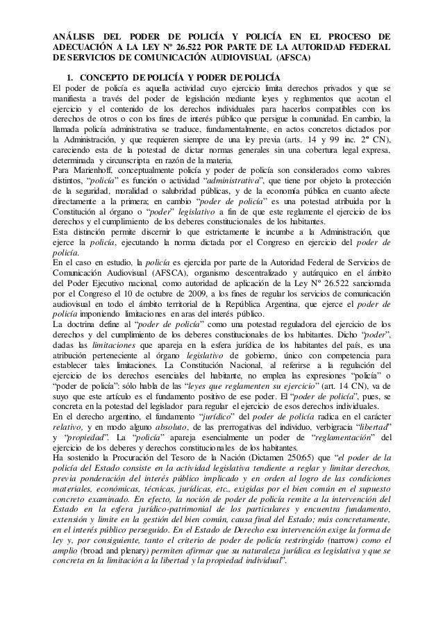ANÁLISIS DEL PODER DE POLICÍA Y POLICÍA EN EL PROCESO DE  ADECUACIÓN A LA LEY Nº 26.522 POR PARTE DE LA AUTORIDAD FEDERAL ...