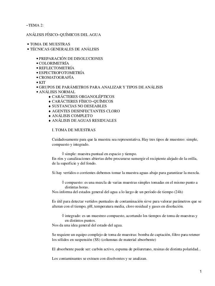−TEMA 2:ANÁLISIS FÍSICO−QUÍMICOS DEL AGUA• TOMA DE MUESTRAS• TÉCNICAS GENERALES DE ANÁLISIS    • PREPARACIÓN DE DISOLUCION...