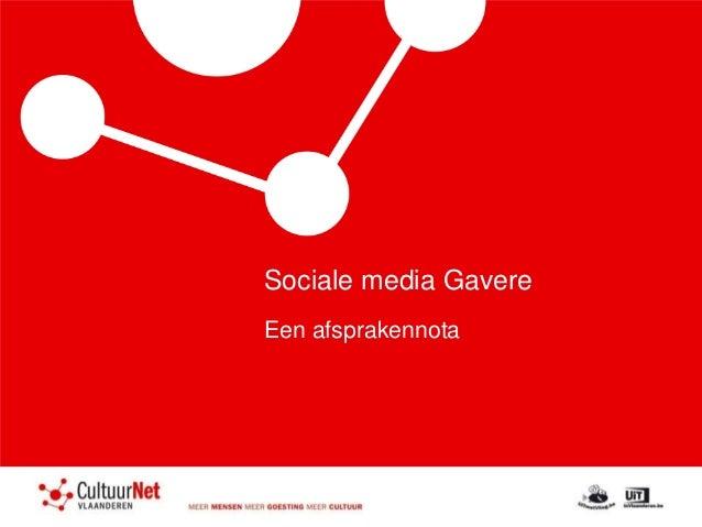 Sociale media Gavere Een afsprakennota