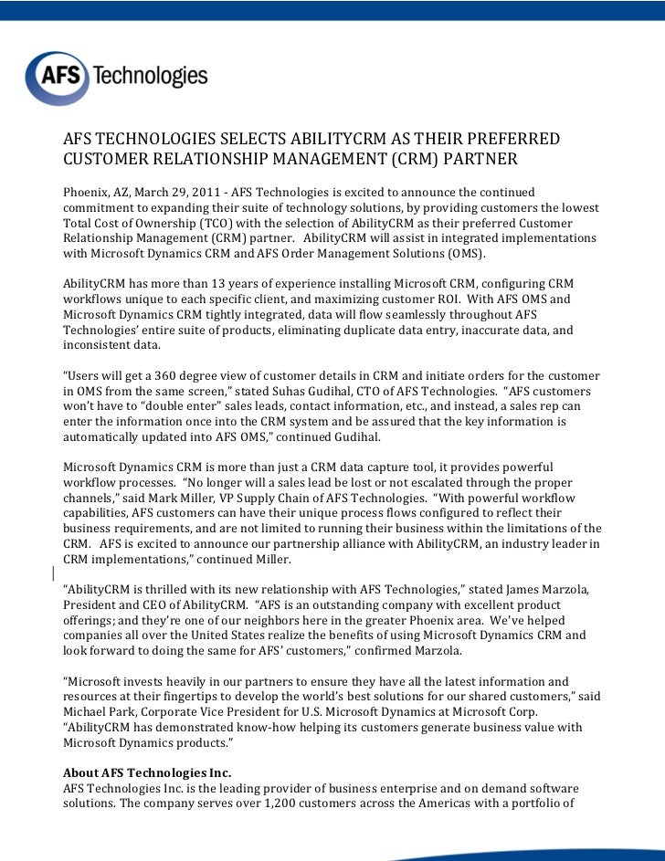AFS TECHNOLOGIES SELECTS ABILITYCRM AS THEIR PREFERREDCUSTOMER RELATIONSHIP MANAGEMENT (CRM) PARTNERPhoenix, AZ, March 29,...