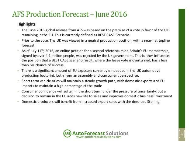 www.autoforecastsolutions.com AutoForecast Solutions AFS ProductionForecast– June 2016 Highlights • The June 2016 global r...