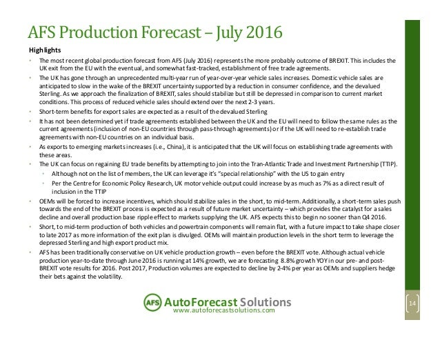 www.autoforecastsolutions.com AutoForecast Solutions AFS ProductionForecast– July 2016 Highlights • The most recent global...