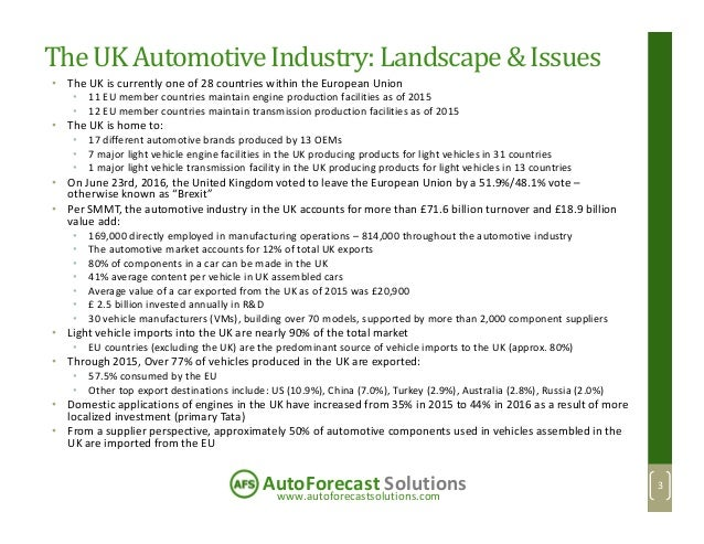 www.autoforecastsolutions.com AutoForecast Solutions The UK AutomotiveIndustry:Landscape& Issues • The UK is currently one...