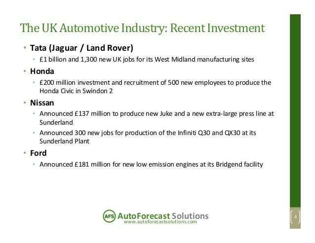 www.autoforecastsolutions.com AutoForecast Solutions The UK AutomotiveIndustry:RecentInvestment • Tata (Jaguar / Land Rove...