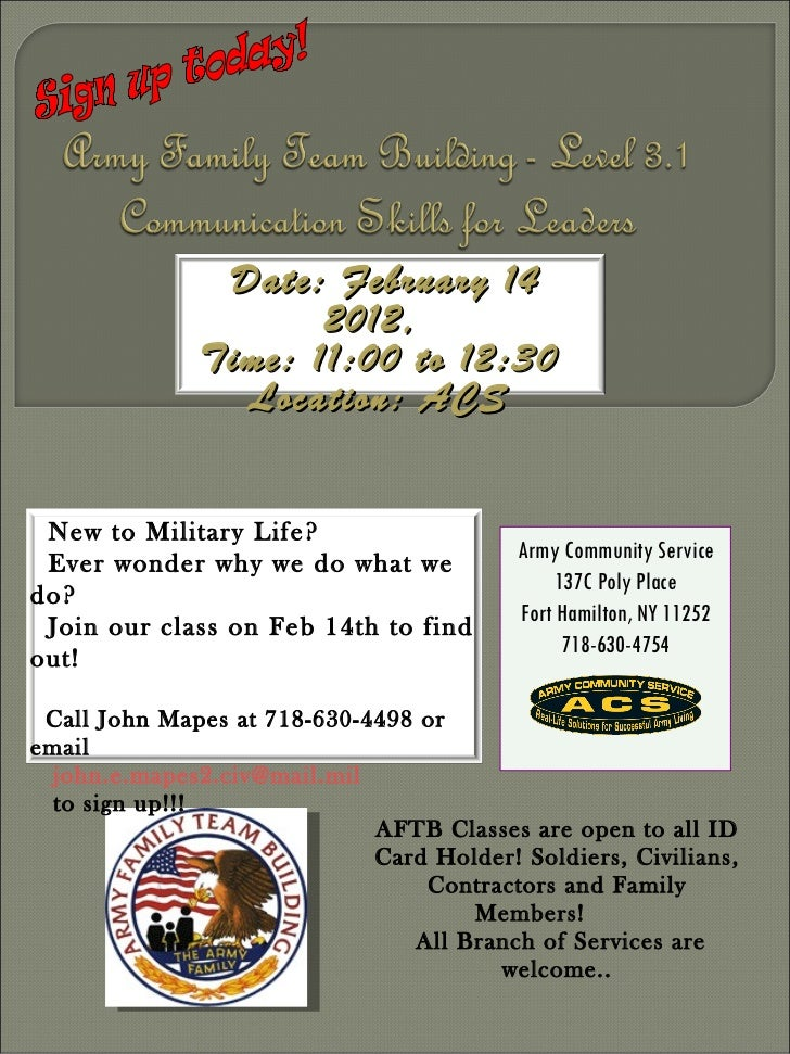 Sign up today! AFTB Classes are open to all ID Card Holder! Soldiers, Civilians, Contractors and Family Members!  All Bran...