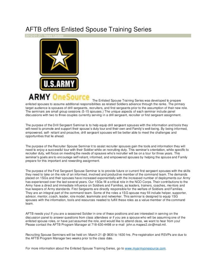 AFTB offers Enlisted Spouse Training Series2012-01-27 / News Update                                                 The En...