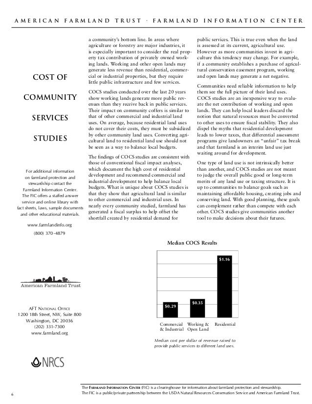 A m e r i c a n f a r m l a n d t r u s t · F a r m l a n d i n f o r m a t i o n c e n t e r COST OF COMMUNITY SERVICES S...