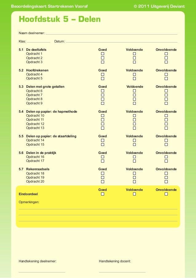 Beoordelingskaart Startrekenen Vooraf  © 2011 Uitgeverij Deviant  Hoofdstuk 5 – Delen Naam deelnemer:   Datum:   Klas: 5...