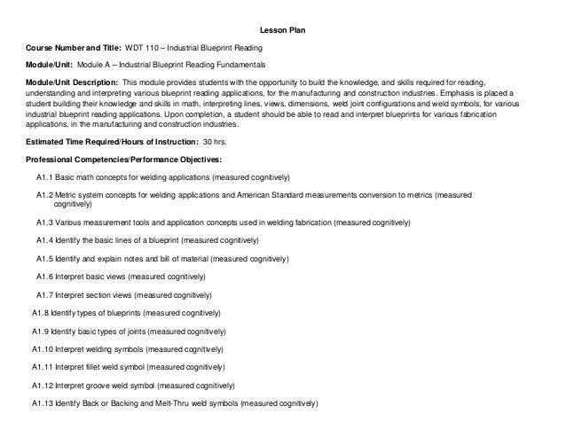 Lesson Plan Course Number and Title: WDT 110 – Industrial Blueprint Reading Module/Unit: Module A – Industrial Blueprint R...