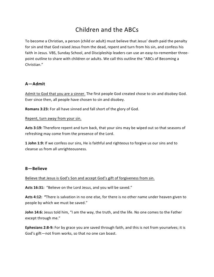 Children and the ABCs<br />To become a Christian, a person (child or adult) must believe that Jesus' death paid the penalt...