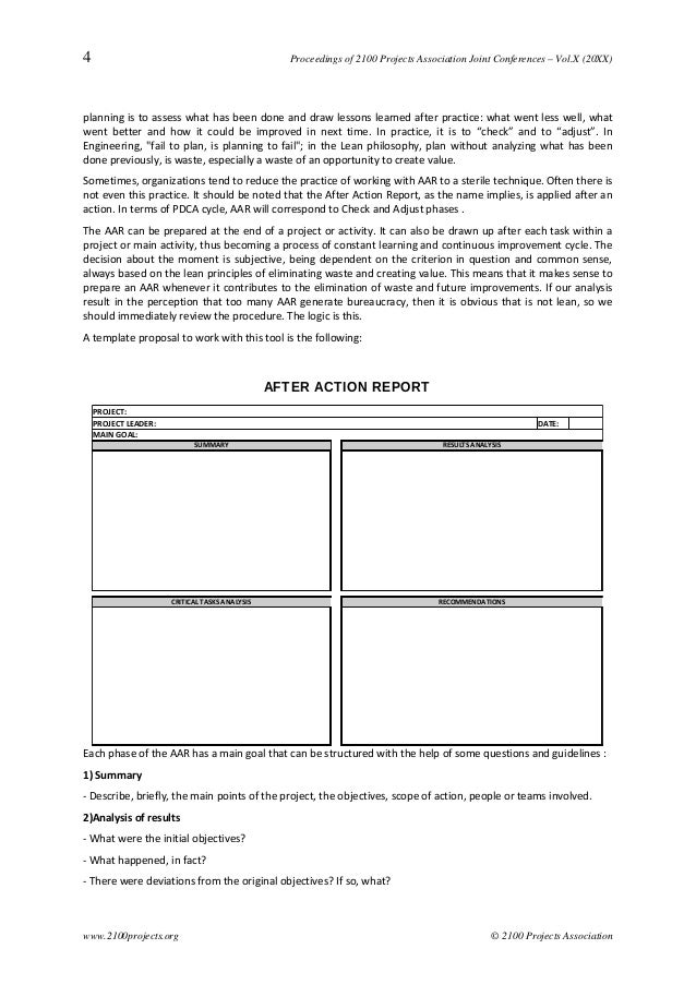 After Action Report A Structured Support To The Practice Of Continuo