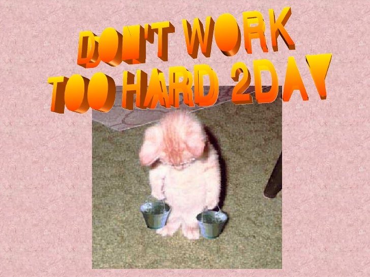 DON'T WORK TOO HARD 2DAY