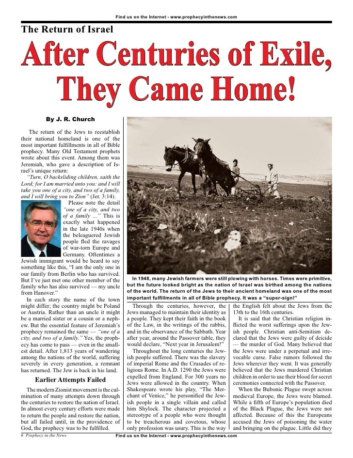 After Centuries Of Exile, They Came Home! -  Prophecy In The News Magazine -  November 2008