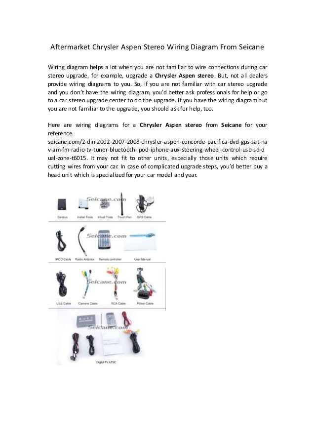 aftermarket chrysler aspen stereo wiring diagram from seicaneaftermarket chrysler aspen stereo wiring diagram from seicane wiring diagram helps a lot when you are