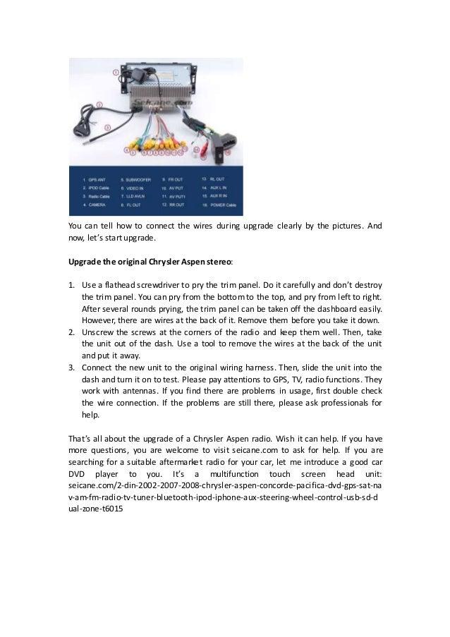 aftermarket chrysler aspen stereo wiring diagram from seicane rh slideshare net