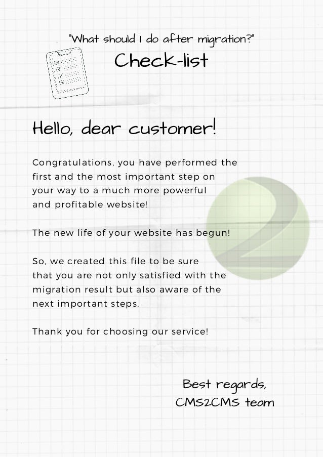 """""""What should I do after migration?"""" Check-list Hello, dear customer! Congratulations, you have performed the first and the..."""