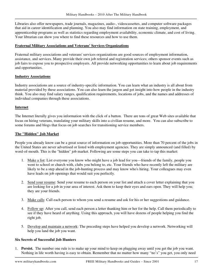 after military handbook 2010 resume help - Resume Help For Veterans