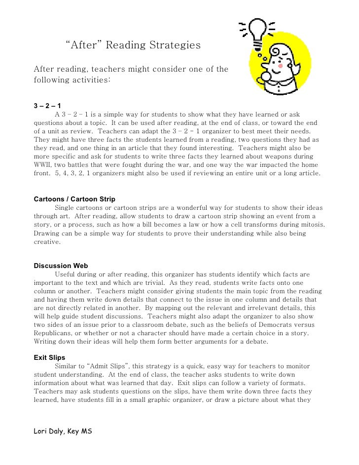 """""""After"""" Reading Strategies  After reading, teachers might consider one of the following activities:   3–2–1        A 3 – 2..."""