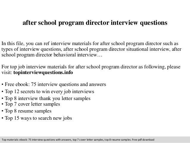 resume for after school program