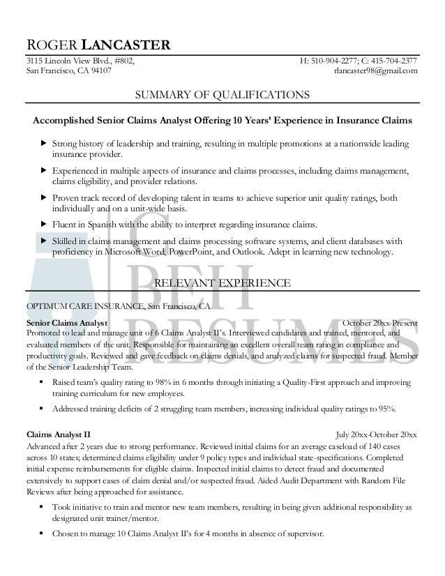 Resume Sample: Senior Claims Analyst. ROGER LANCASTER 3115 Lincoln View  Blvd., #802, ...