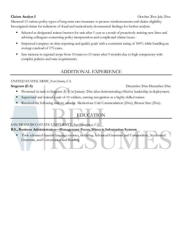 resume sample  senior claims analyst
